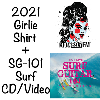 KFJC Girlie Shirt and SurfCD combo for 2021
